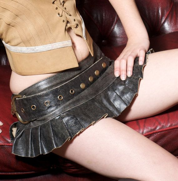 Grijs lederen steampunk mini rok grijs antiek leder mini rok