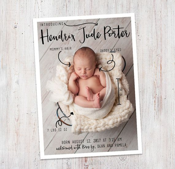 Birth Announcement : Baby Stats Introducing Hendrix by deanworks
