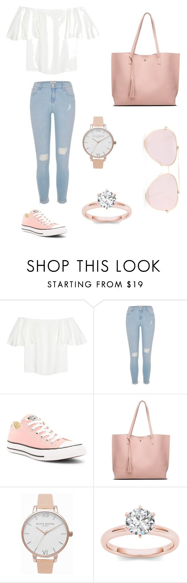 """""""Untitled #1"""" by rawnaqali ❤ liked on Polyvore featuring Valentino, River Island, Converse and Olivia Burton"""