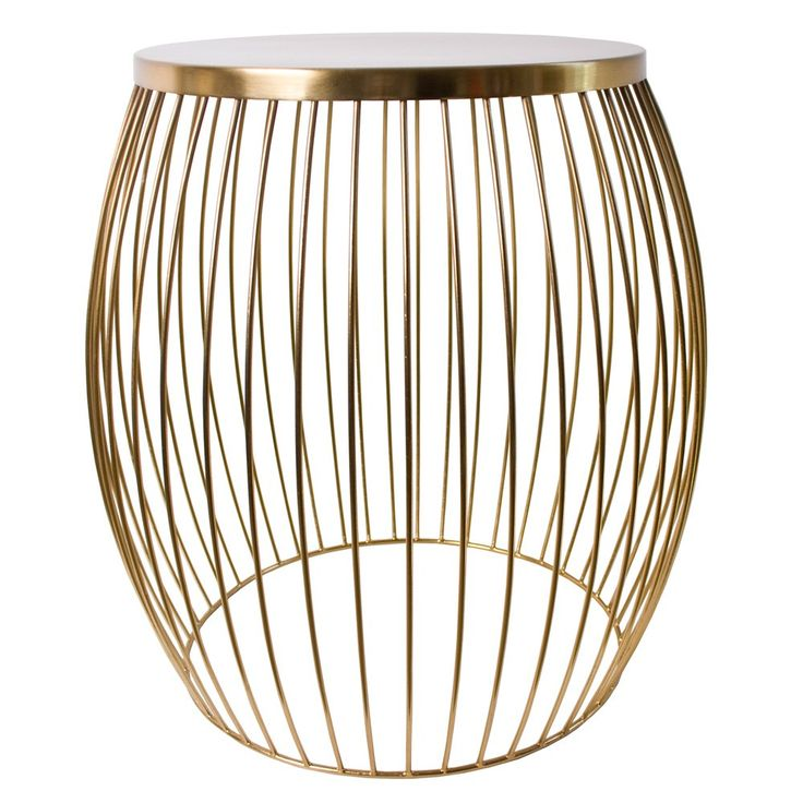 Gold Miami wire stool from Temple & Webster. A little like a gilded birdcage on which to rest your coffee (or your behind). Canary not included...