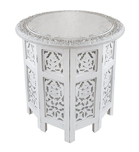 Jaipur Solid Wood Hand Carved Accent Table Antique White