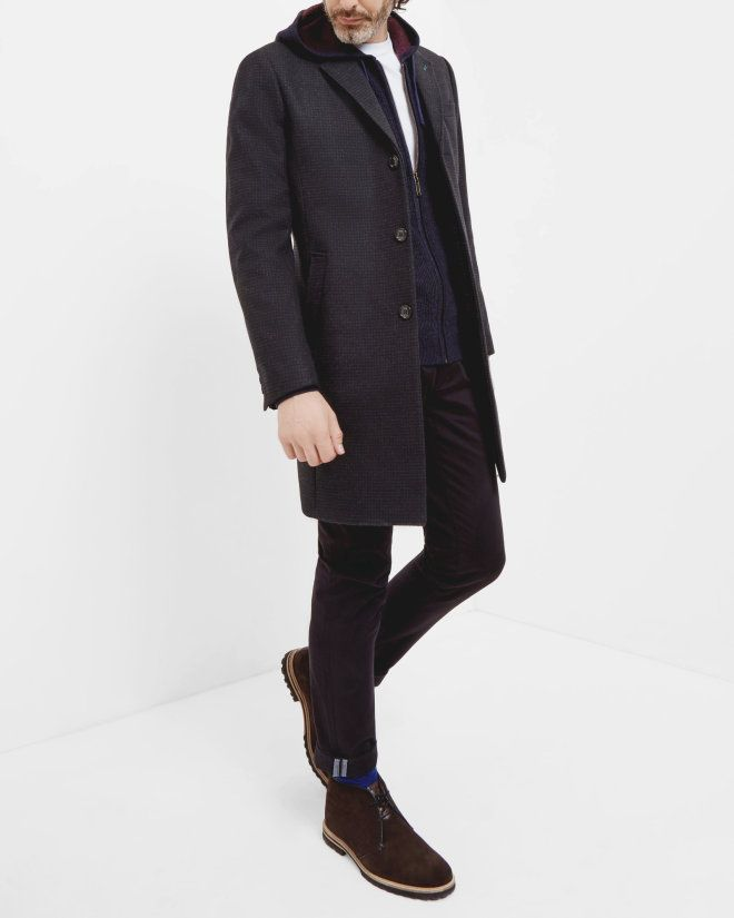 Knitted zip up hoodie - Navy | Knitwear | Ted Baker ROW