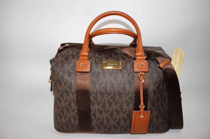 NWT MICHAEL KORS Lrg  Brown MK Monogram Saddle Leather Trim Travel Weekender Bag #MichaelKors #WeekenedTravel