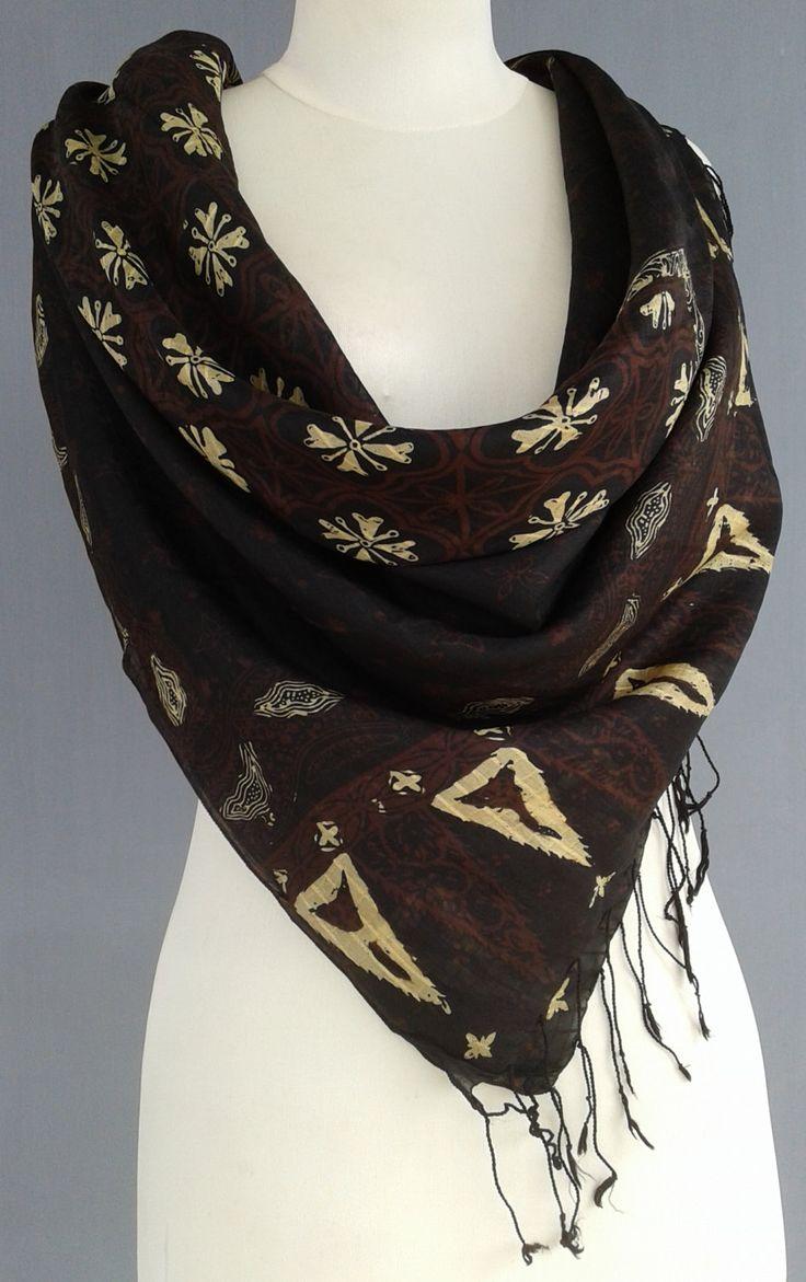 Contemporary Vintage Scarf~Batik Silk Indonesia~mocha gold summer wrap~Hand-printed shawl~designer fabric~javanese wedding~woodblock silk~ by JavaniceHandyCraft on Etsy