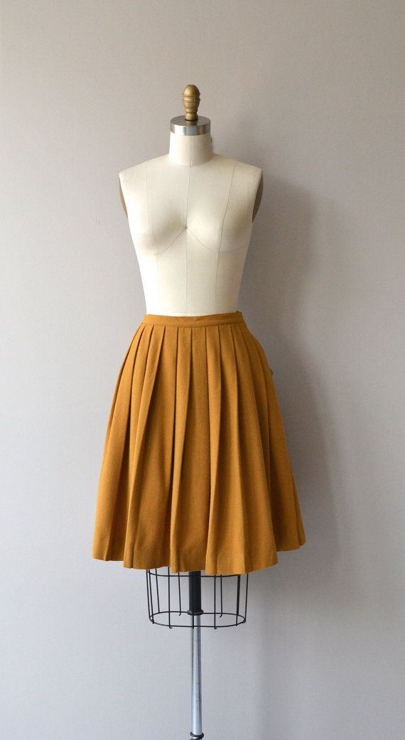 Hot Mustard skirt vintage 50s skirt wool pleated by DearGolden