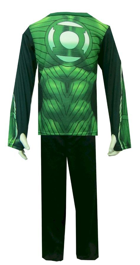 DC Comics Green Lantern Suit Pajama Set  So cool! These flame resistant long sleeve long pant pajamas for boys are designed to look like Green Lantern's suit. The sleeves have an intentional thumb hole on the inside of each, so your little guy can really act the part. Machine wash, easy care. $20