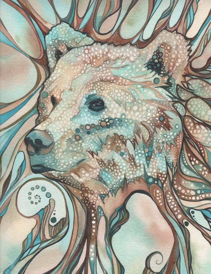 Grizzly Bear Sprit 8.5 x 11 print of detailed hand painted watercolour artwork in whimsical psychedelic turquoise earth tones. $40.00, via Etsy.