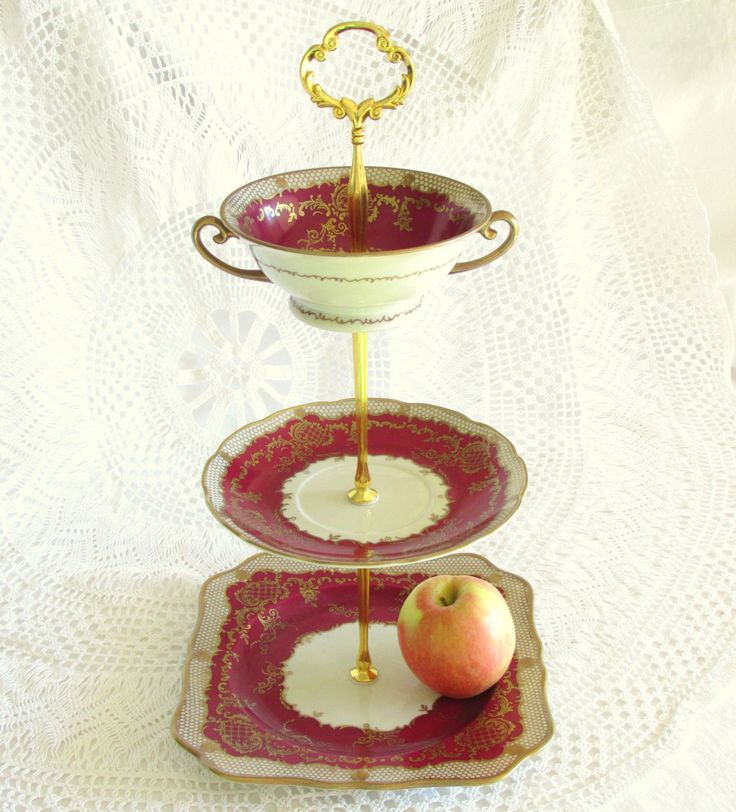 3-Tier Deep Red & Gold Tea Stand, Cupcake Tower, Tidbit Tray, Desert Pedestal Centerpiece, Vintage China Plate Display By High Tea for Alice by HighTeaForAlice on Etsy