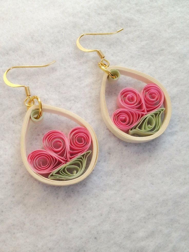 Pink Flower Quilling Earrings by aCreativeTypeOfGirl on Etsy