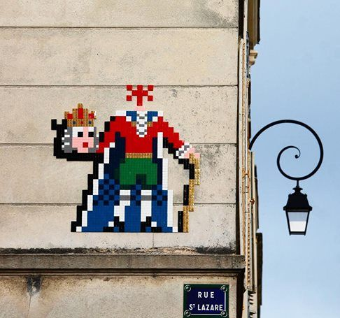 "Invader, ""The King Is Dead"" in Paris, 2017"