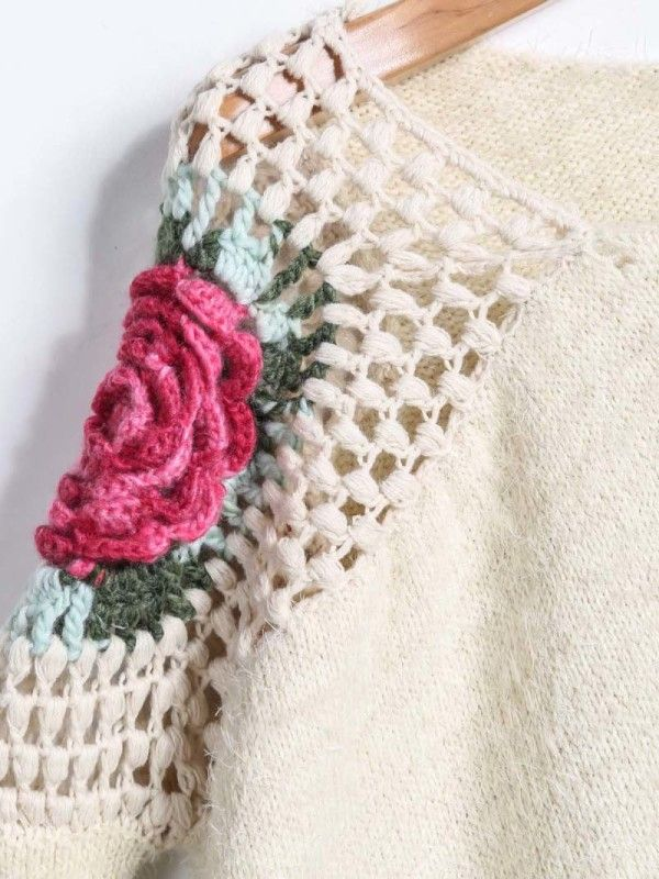 646a3c7203 Great Prices on Knitwear! Visit SheIn.co.uk - Limited Time Offer  Apricot-Round-Neck-Floral-Crochet-Loose-Sweater #valentinesday #va… |  Clothes on sale!