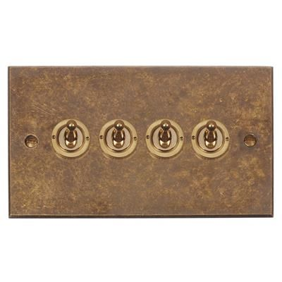 4 Gang Brass Dolly Switch Bevelled Plate