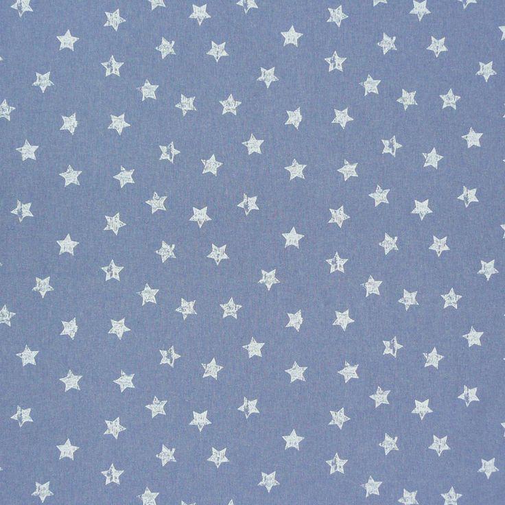 Gardinenstoff Stoff Dekostoff Meterware blau weiß Sterne Gardinenstoffe Dekostoffe