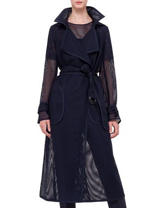 Long Grid-Lace Trenchcoat by Akris punto at Bergdorf Goodman.