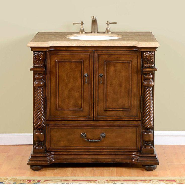 Image Gallery Website Silkroad Exclusive Travertine Top Single White Sink Bathroom Vanity with Walnut Finish Cabinet