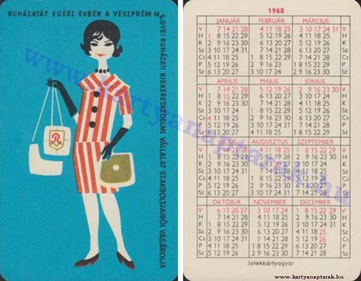 1968 - 1968_0219 - Régi magyar kártyanaptárak