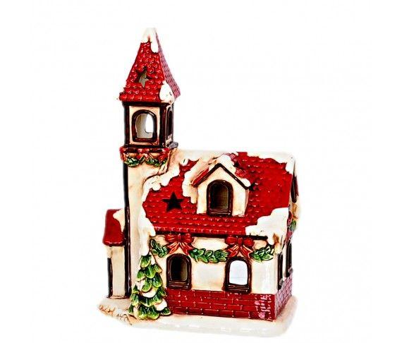 8,65 € - Casetta natalizia porta t-light, realizzata in ceramica, dimensione cm. 30.