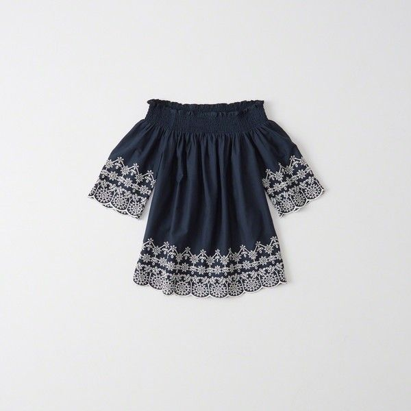 Abercrombie & Fitch Embroidered Hem Off The Shoulder Top (55 CAD) ❤ liked on Polyvore featuring tops, navy, off shoulder tops, smock top, smocked top, navy top and navy blue off the shoulder top