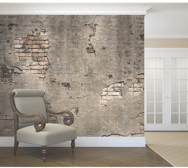 Brewster Home Fashions Broken Concrete Wall Mural Reviews Wallpaper Home Decor Macy S With Images Concrete Wall Faux Brick Walls Broken Concrete