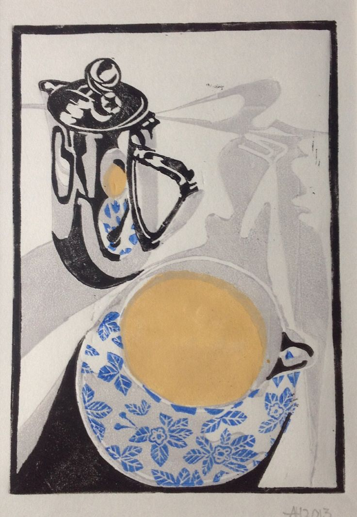 "Lino cut ""tea at the Midland Hotel"" Nov 2013. By Andy Hornby"