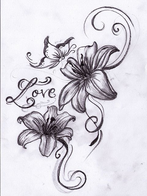 Butterfly n Lilies Tattoo Design