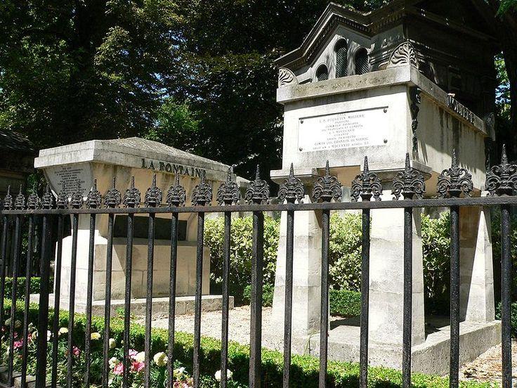 Pere Lachaise Cemetery in Paris, France - La Fontaine and Molière graves    ***___***
