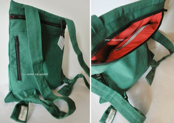 Convertible backpack Messenger bag Green by misirlouHandmade