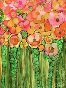 Alcohol Ink Mixed Media - Poppy Bloomies 1 - Orange by Carol Cavalaris