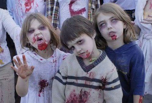 Versione n.5 del trucco da zombie per bambini per Halloween