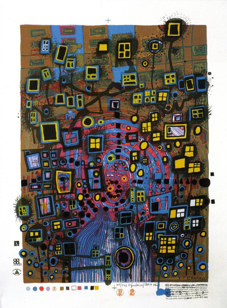 friedensreich hundertwasser paintings 1993 city citizen. Black Bedroom Furniture Sets. Home Design Ideas