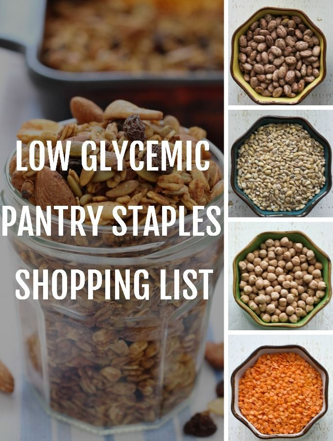 Low GI Pantry Staples Shopping List to help you create your own shopping list for a healthy low GI pantry. It includes grains, beans, nuts, spices and more!