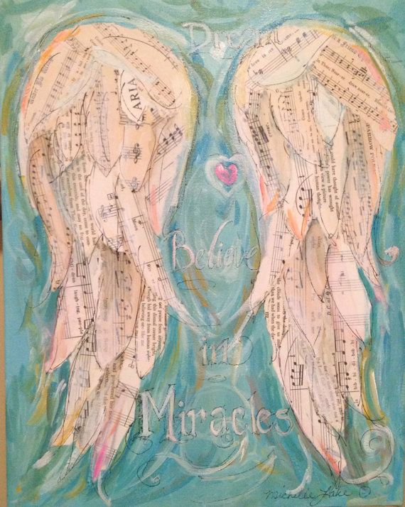 Believe In Miracles # Angel Wings Mixed Media Painting called Believe by grafittigirl, $100.00