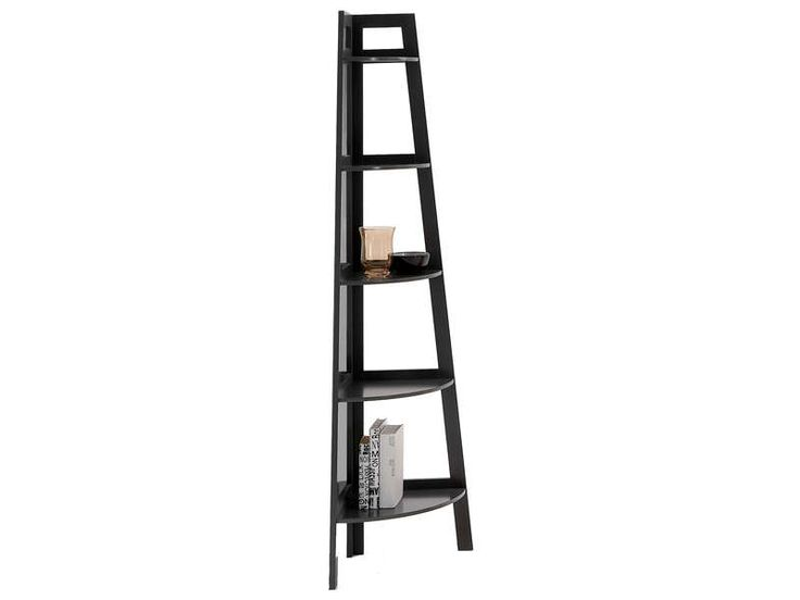 Etag re d 39 angle coloris gris vente de biblioth que for Etagere d angle salon