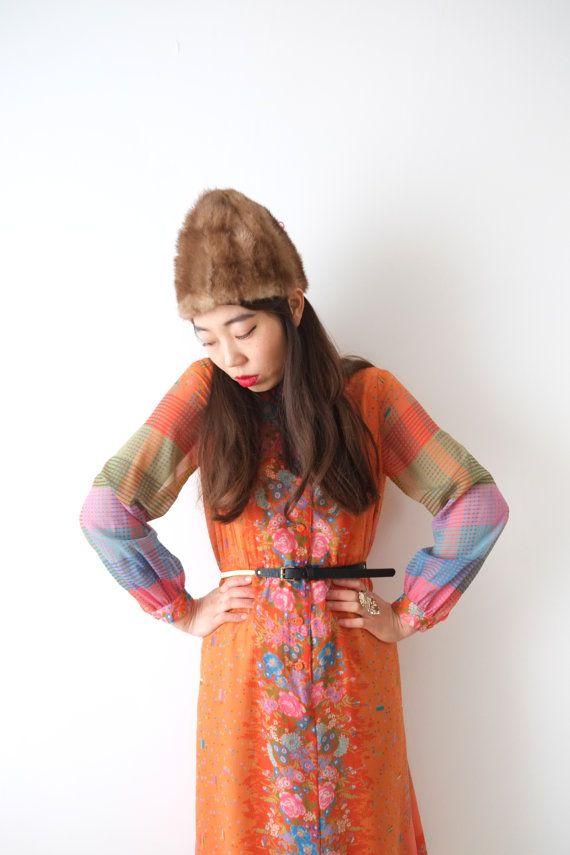 Vibrant orange vintage dress Japan M  L by kamomeya on Etsy