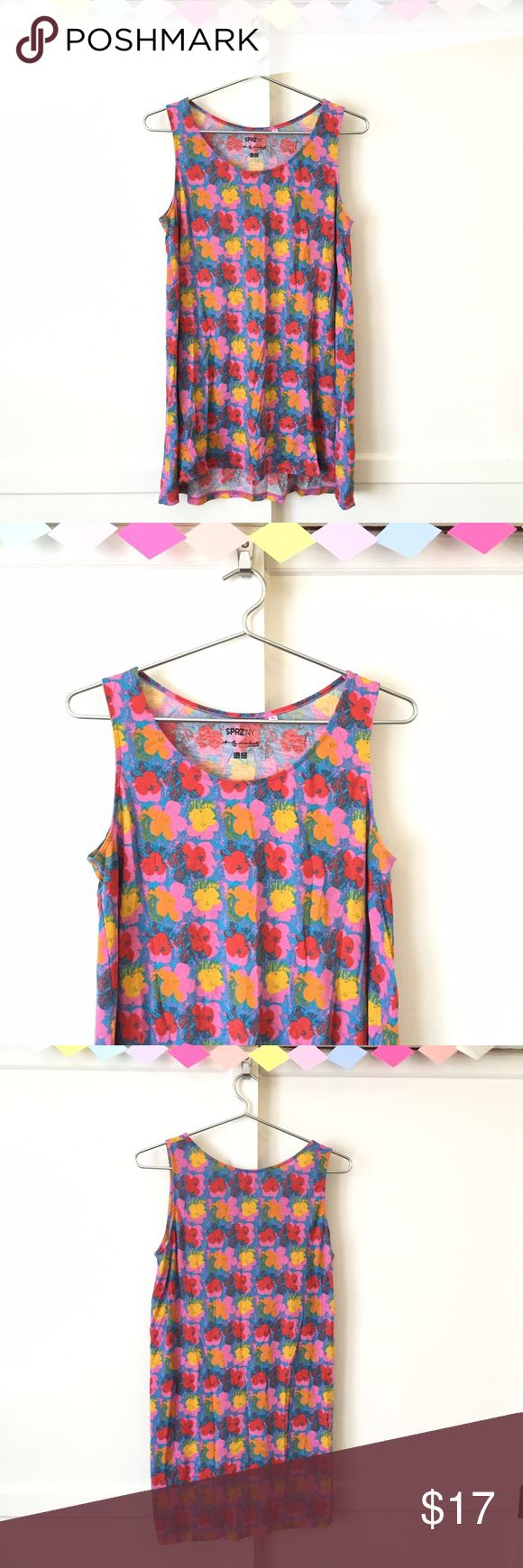 """Andy Warhol Flower Tank Top Andy Warhol Flower Tank Top. A really fun & brightly colored tank top from SPR2NY. With Andy Warhol floral print. This is a great tank to wear over your favorite leggings. It was just a bit too short for my#tallbitch self, so I'm putting it out there for a lucky lady! Shoulders: 12"""" Chest: 42"""" Length: 30.5"""" UNIQLO Tops Tank Tops"""