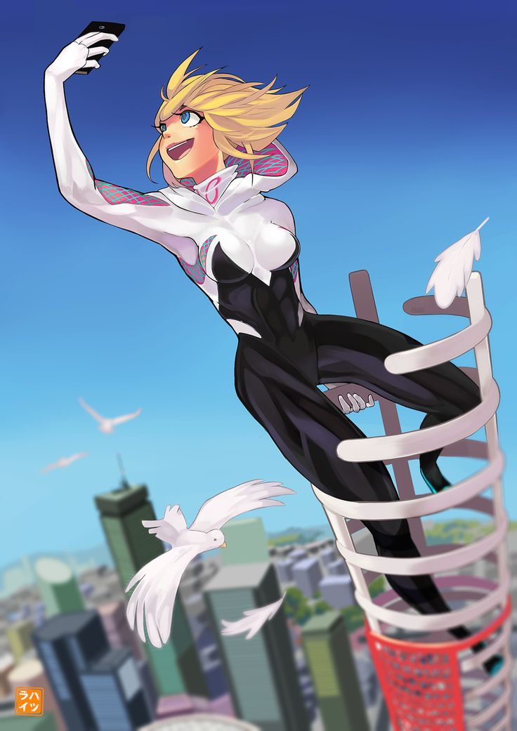 Spider Gwen, Hatsurai Kun on ArtStation at https://www.artstation.com/artwork/V1XxX