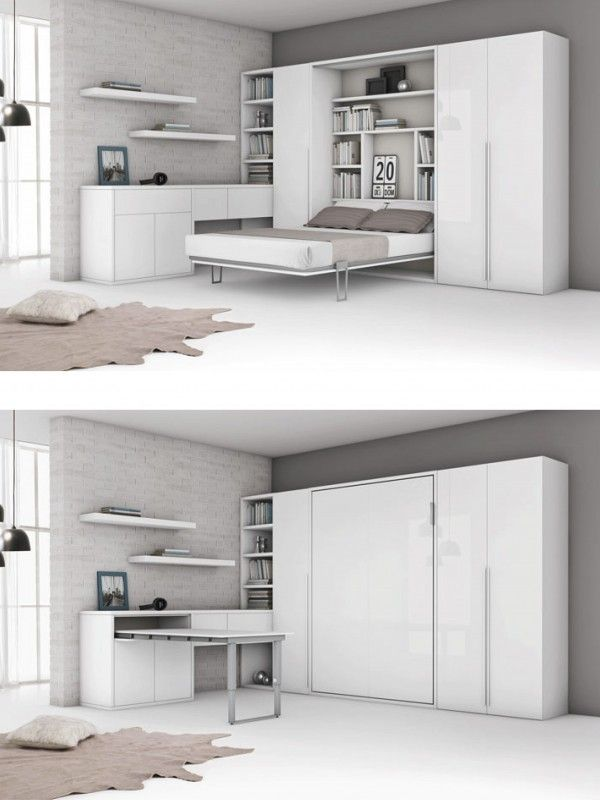 Aménagement d'un lit escamotable deux places dans un agencement moderne