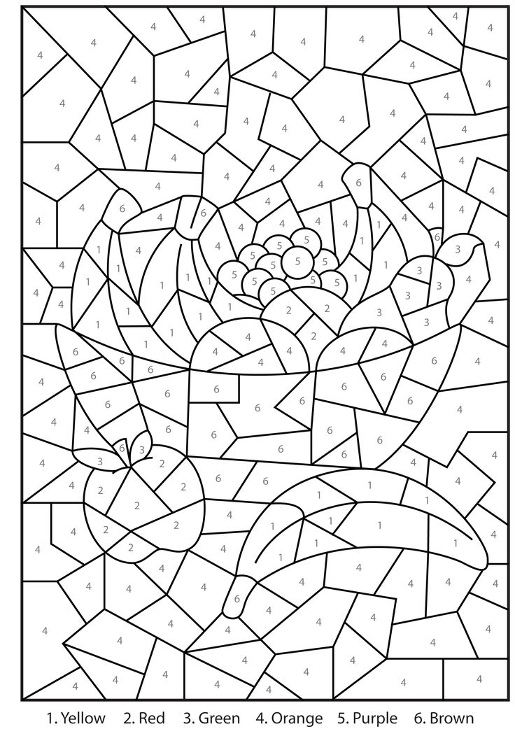 Free printable bowl of fruit colour by numbers activity for kids coloring pages to printcoloring pages for adultsfruit