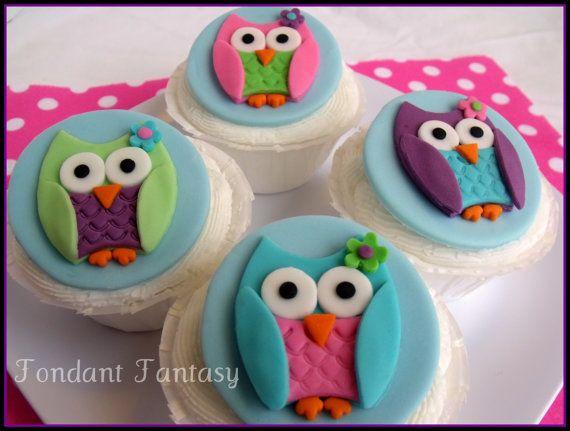 Owl Cupcake Toppers by FondantFantasy