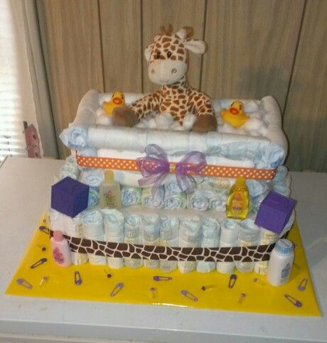 giraffe theme baby shower diaper cake baby shower tub diaper cake baby girl. Black Bedroom Furniture Sets. Home Design Ideas