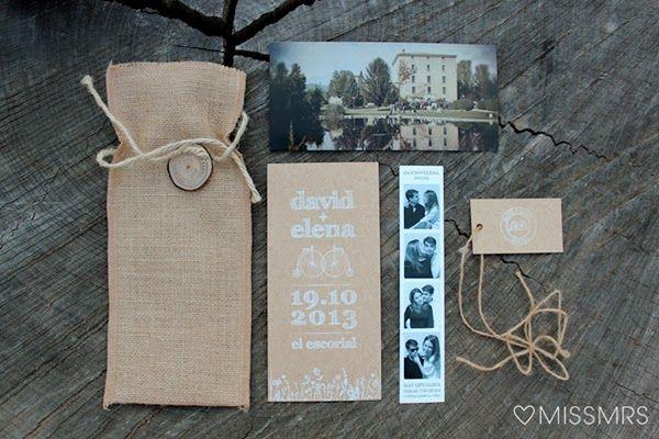 Las invitaciones de boda de Elena   David
