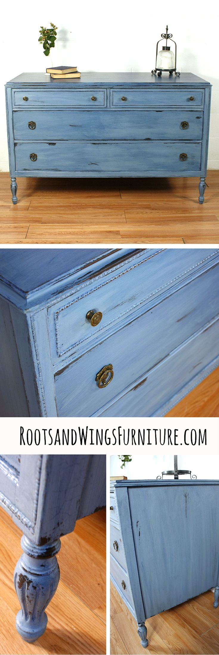 Antique dresser refinished in General Finishes Stillwater Blue by Roots and Wings Furniture. Color-washed with Coastal Blue Milk Paint.