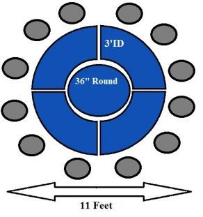 12 Top Round Table: This Person Round Table Uses Small Serpentine Tables.  The Serpentine Size Is X It Utilizes A Round Table In The Center.