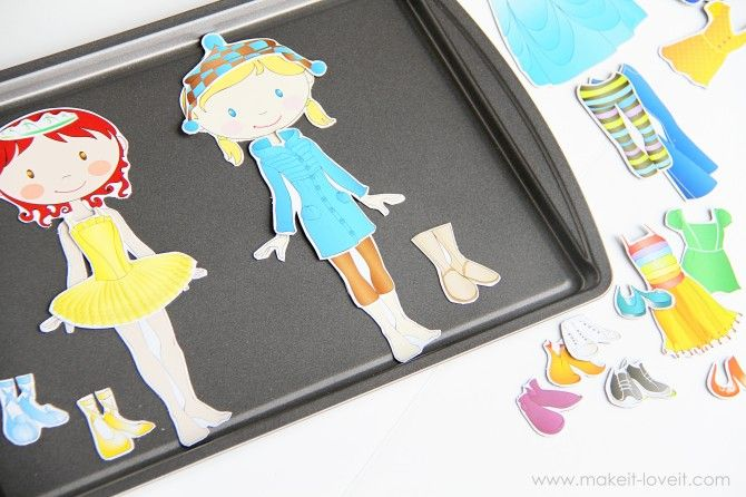Make your own Magnetic Paper Dolls (and a fabric cover for your metal base) from Make It and Love It: Ideas, Paper Dolls, Magnetic Paper, Kid Stuff