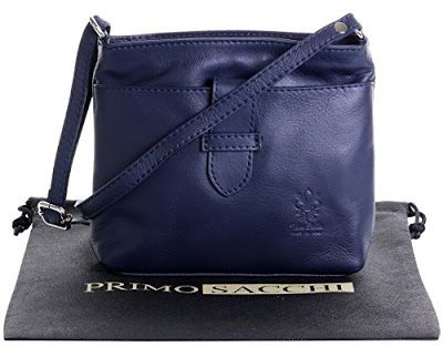 LOVE this gorgeous soft Italian leather hand bag in 'Navy Blue.'  This purse features one large front outer compartment with a small strap over it to close it, and a zippered main compartment.