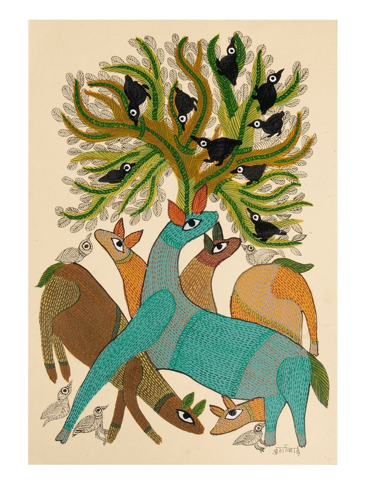 Buy Multi Color Tree Goat Gondh Painting By Durgabai 14in x 10in Paper Acrylic Permanent Ink Art Decorative Folk of Good Fortune Tribal Gond from Madhya Pradesh Online at Jaypore.com