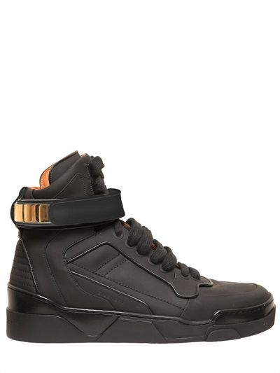 GIVENCHY - MATTE LEATHER HIGH TOP SNEAKERS - LUISAVIAROMA - LUXURY SHOPPING WORLDWIDE SHIPPING - FLORENCE
