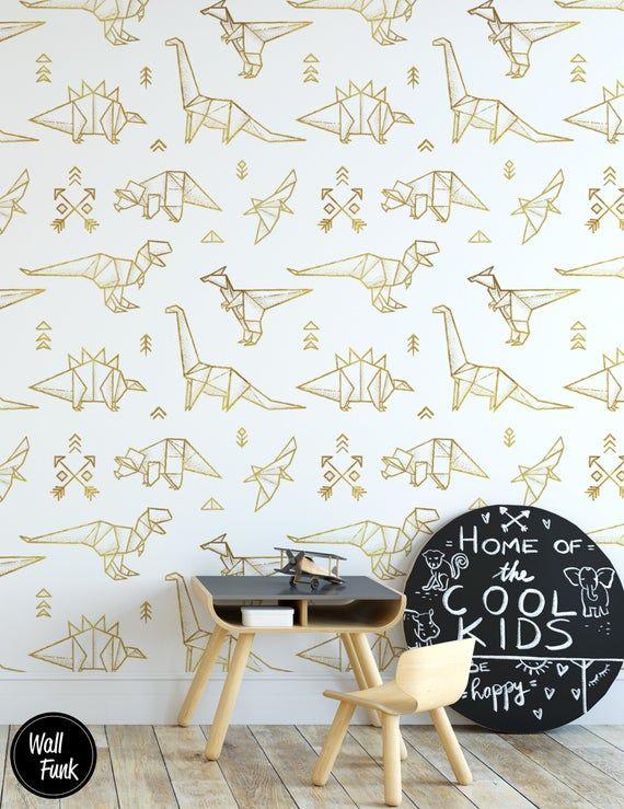 Dinosaur Nursery Wallpaper Removable Temporary Stick On Etsy Stick On Wallpaper Nursery Wallpaper Kids Room Wall Decor