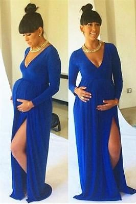 Cheap Maternity Evening Dresses With Slit Long Sleeves Blue Prom Pregnant dress