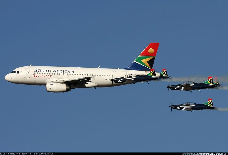 Airliners.net - The SAAF Silver Falcons flying their Pilatus PC-7 Astra's in formation with an SAA A319, Gary Shephard